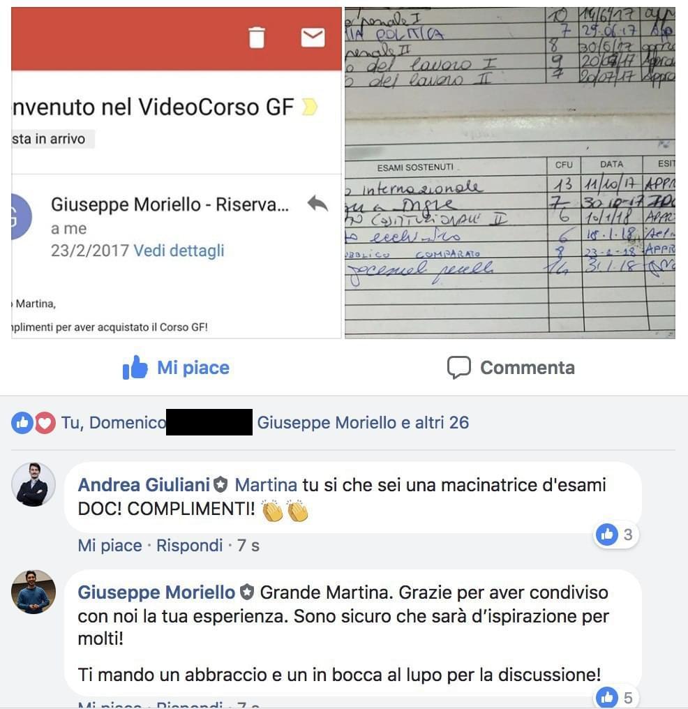 Testimonianza Metodo di Studio Giurisprudenza Facile - Martina Libretto