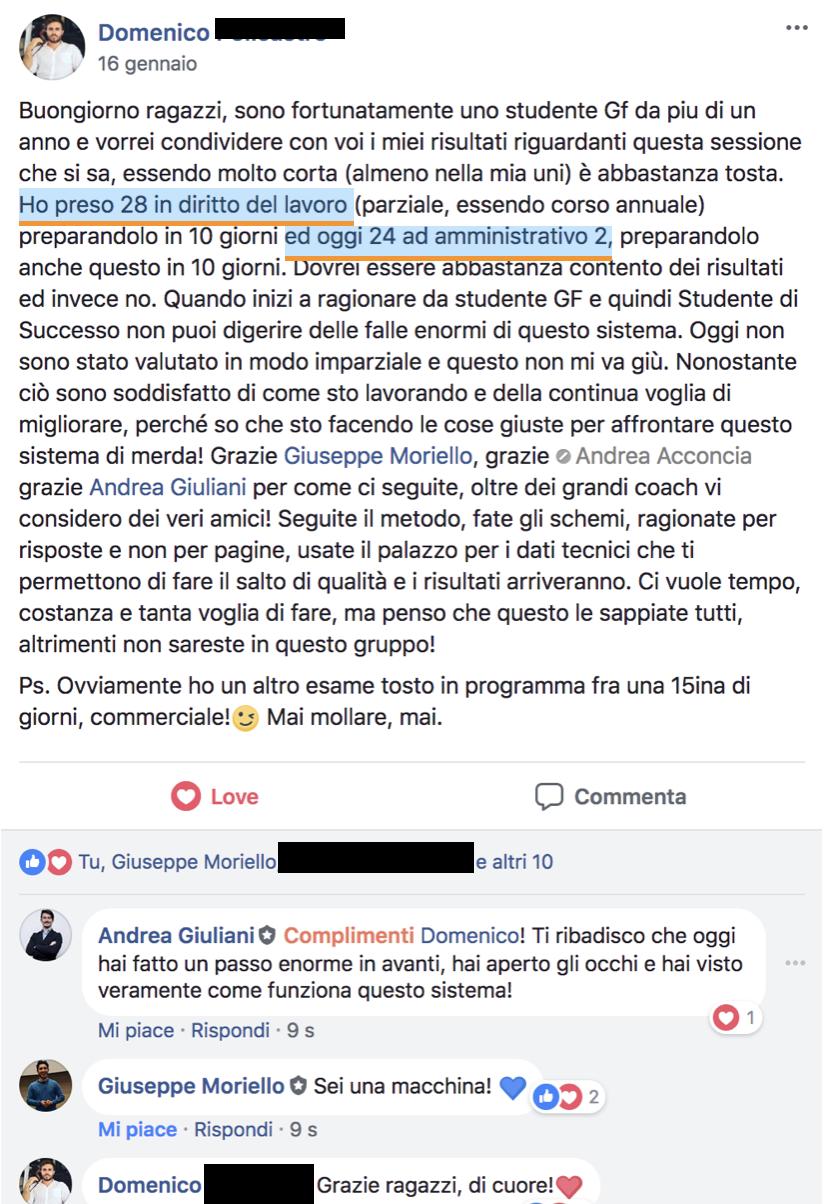 Testimonianza Metodo di Studio Giurisprudenza Facile - Domenico